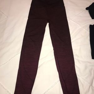 Cold weather running tights, high rise, maroon